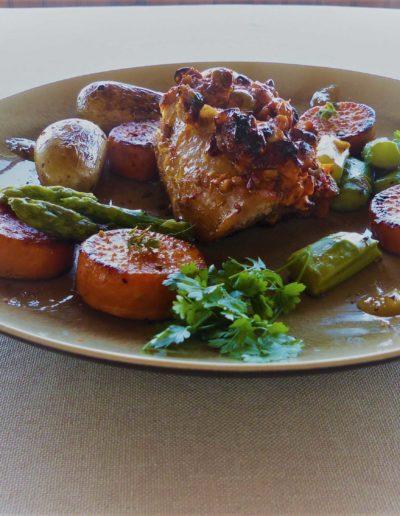Flet mignon en croûte d'olives et chorizo
